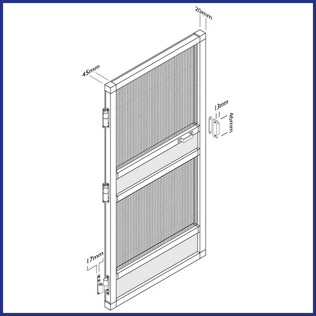 Aluminium Hinged Door Screen - Domestic - Drawing