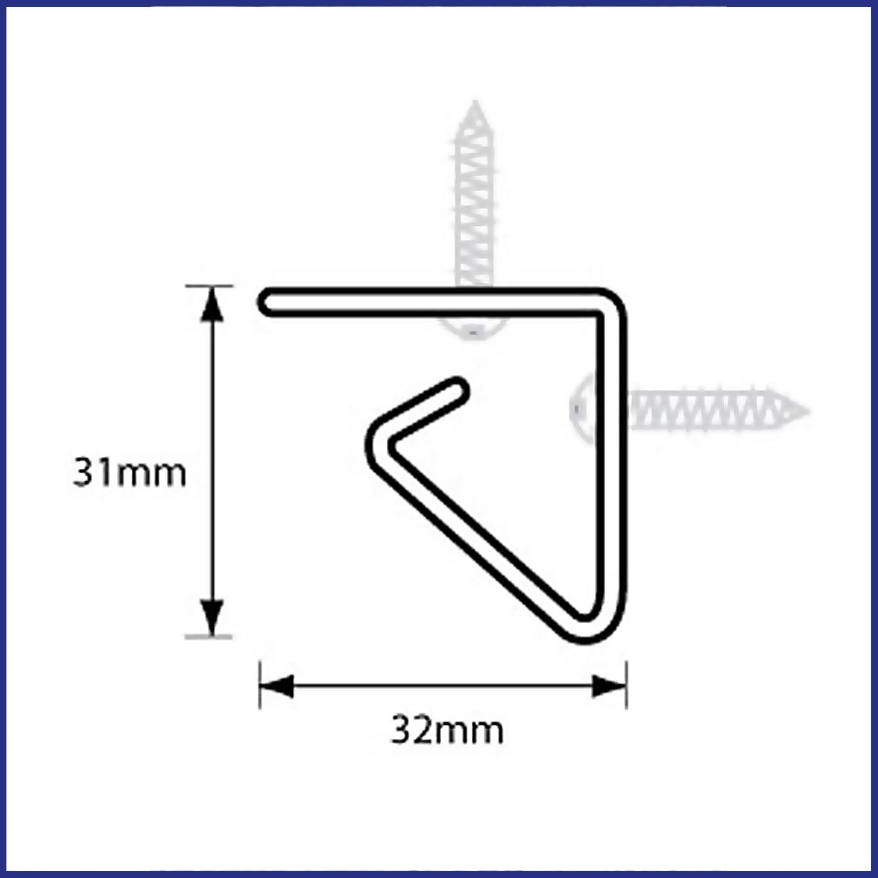 Profile and dimensions of hooked stainless steel track