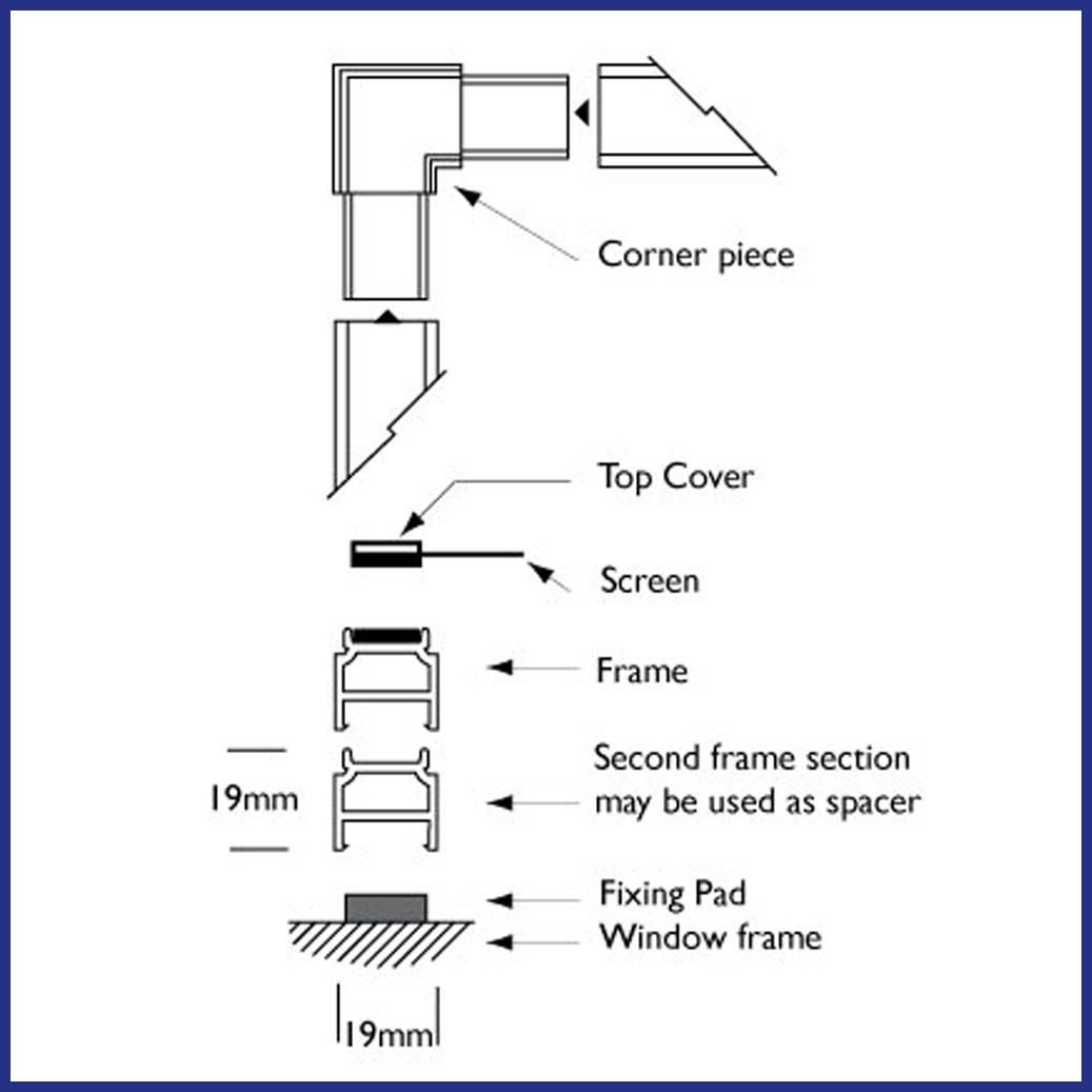 Magnetic Insect Screen for Windows - Profile Diagram