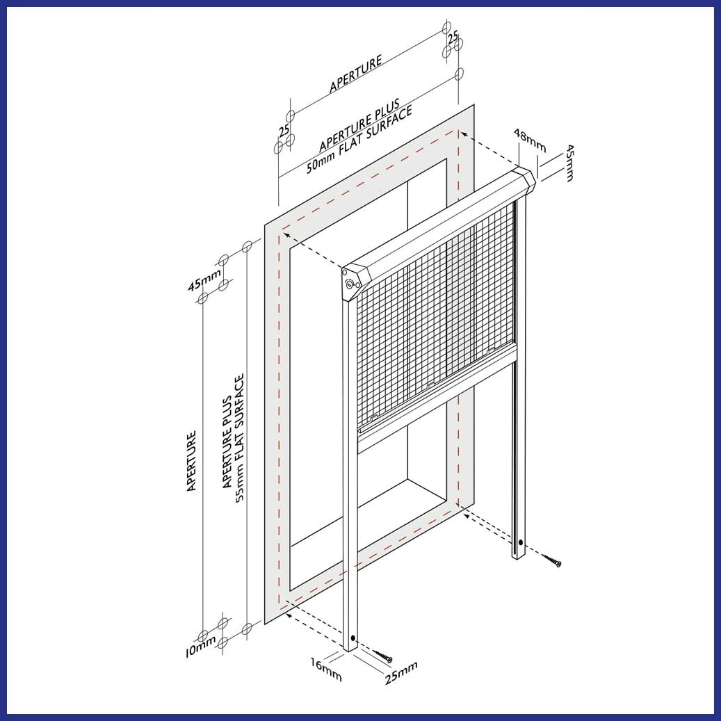 Roller Window Screen - Diagram